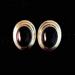 Faux Onyx Oval Goldtone Clipped Earrings