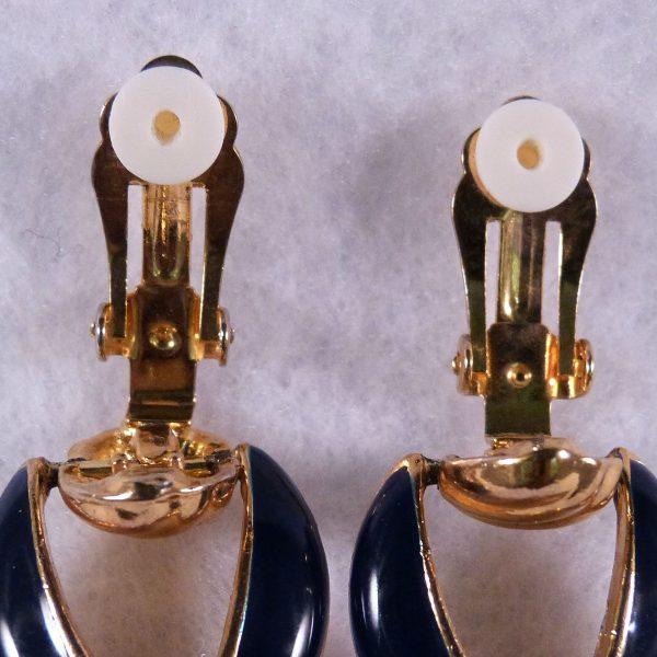 Vintage Door Knocker Navy Blue Clip Earrings