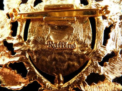 Goldtone Raffine Crown and Shield Brooch