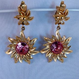 Sunflower clip earrings with pink stone