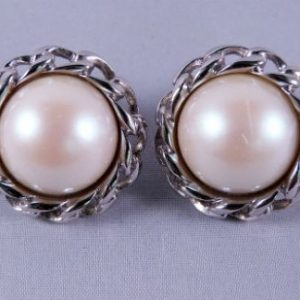 Faux Pearl Silvertone Clip Earrings