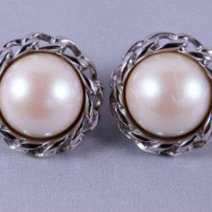 Faux Pearl Silvertone Clip Earrings