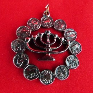 Zodiac Pin with Menorah
