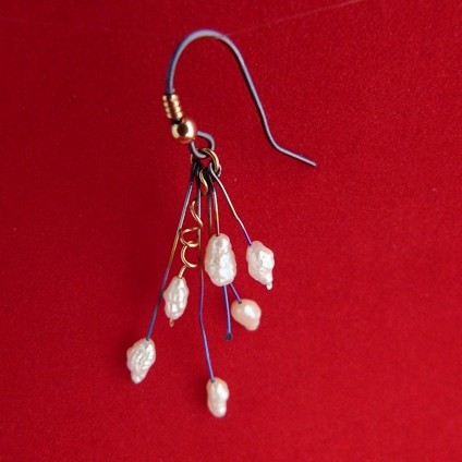 French Hook Titanium Earrings with Faux Pearl Drops