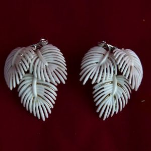 White Leaf Plastic Clip Earrings by Lisner