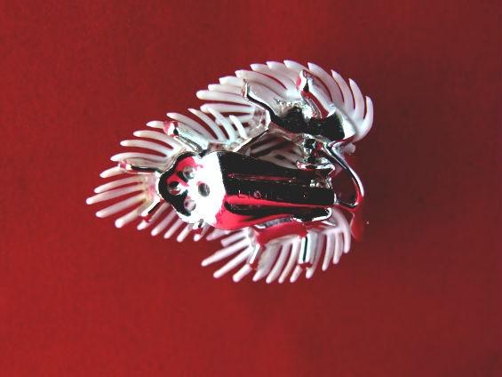 White Leaf Plastic Clip Earrings by Lisner