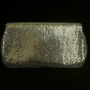Whiting & Davis Gold Tone Mesh Evening Bag