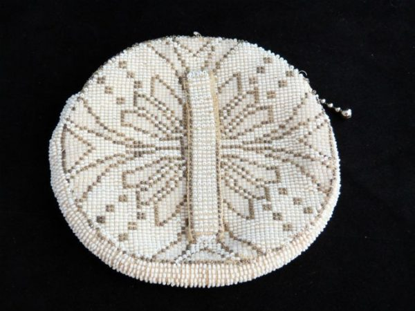 Off White Seed Bead Purse