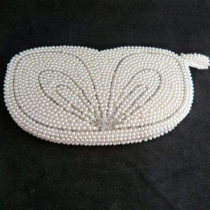 White Faux Pearl Beaded Purse