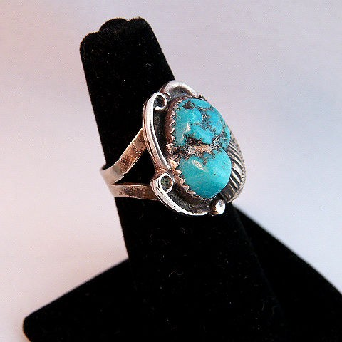 Native American Vintage Pawn Silver Leaf & Turquoise Ring