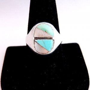 Native American Vintage Pawn Mother of Pearl Inlay Ring