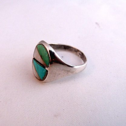 Zuni Native American Vintage Pawn Mother of Pearl Inlay/Silver Ring