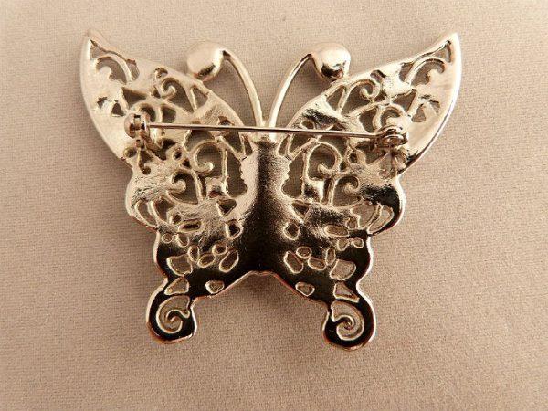 Vintage Pink Rhinestone Butterfly Brooch