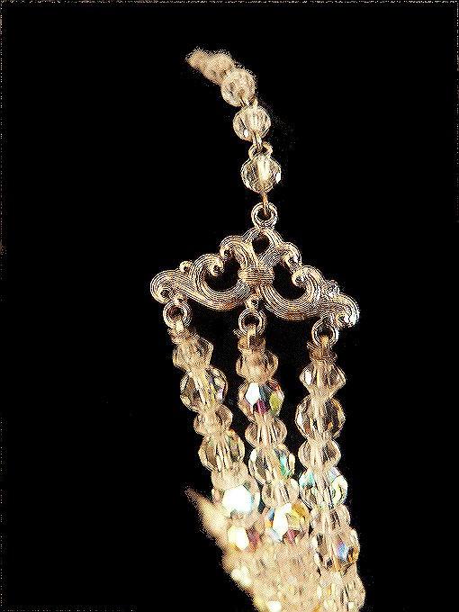 Vintage Crystal Aurora Borealis 3 Strand Necklace