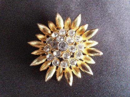 Sunflower & Rhinestone Pin
