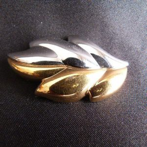 Vintage Monet Silver & Gold Tone Leaf Brooch Pin