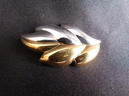 Vintage Monet Silver & Gold Tone Leaf Brooch Pin