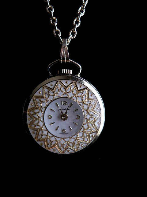 Gold Tone Pendant Necklace Watch