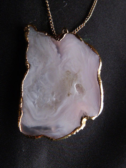 Vintage White Geode Agate Pendant Necklace