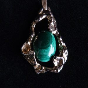 Malachite Jewelry Pendant with Gold Tone Slide