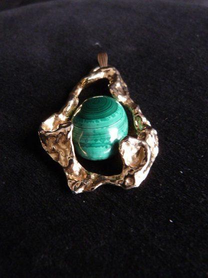 Malachite Jewelry Pendant with Gold Tone Slide