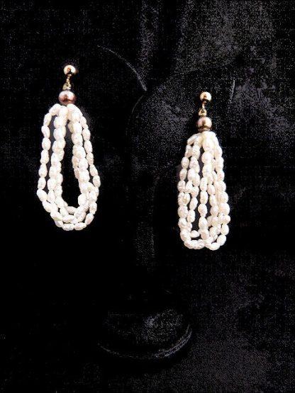 Vintage Biwa Freshwater Pearl Pierced Earrings