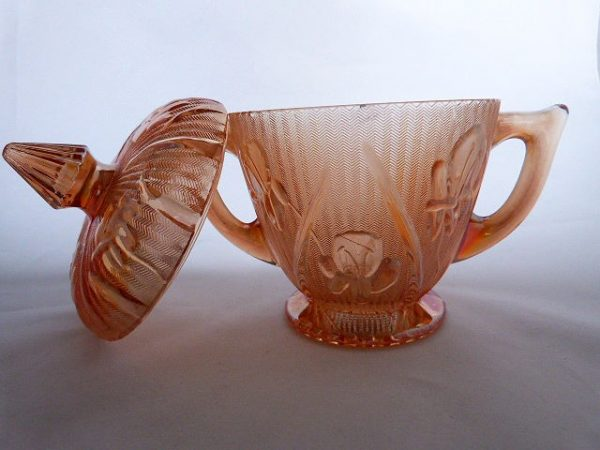 Jeannette Glass Lidded Sugar Bowl
