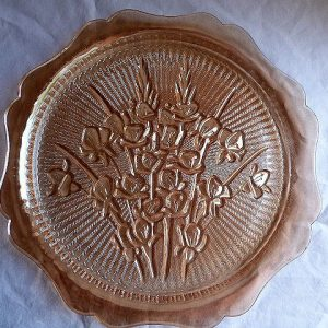 Sandwich Serving Plate - Iris and Herringbone by Jeannette Glass