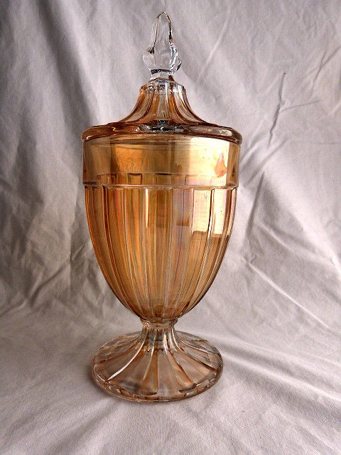 Vintage covered Amber Glass Candy Jar by Heisey