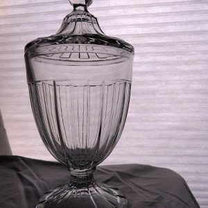 Vintage Covered Clear Glass Candy Jar by Heisey