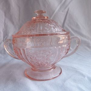 Vintage Sharon-Pink Lidded Sugar Bowl by Federal Glass