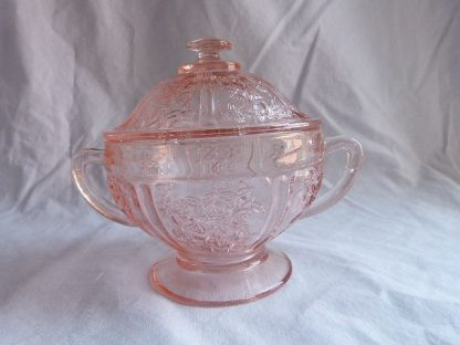 Vintage Sharon-Pink Lidded Sugar Bowl by Federal Glass