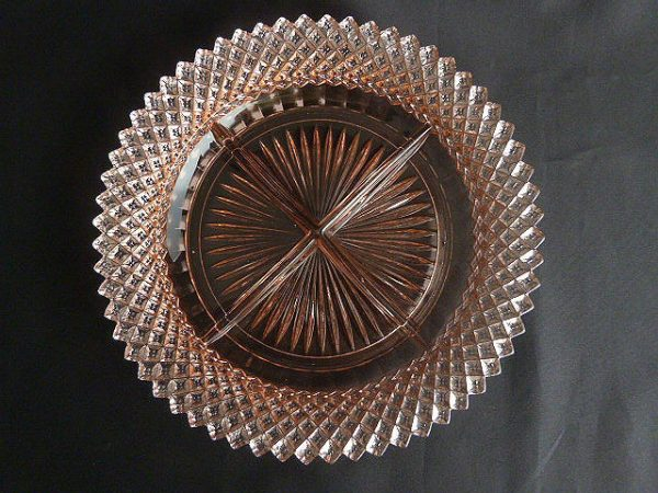 Anchor Hocking Miss America Pink Relish Dish
