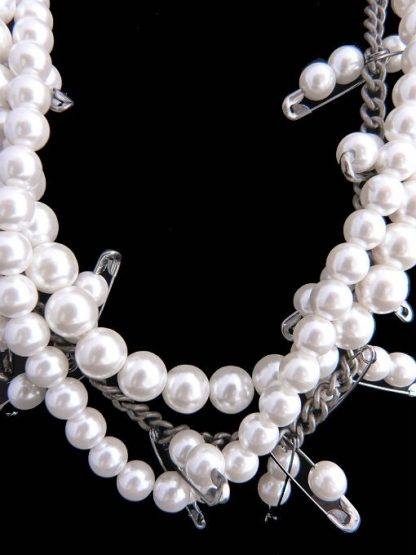 Robert Rose Safety Pin Necklace with Faux Pearls