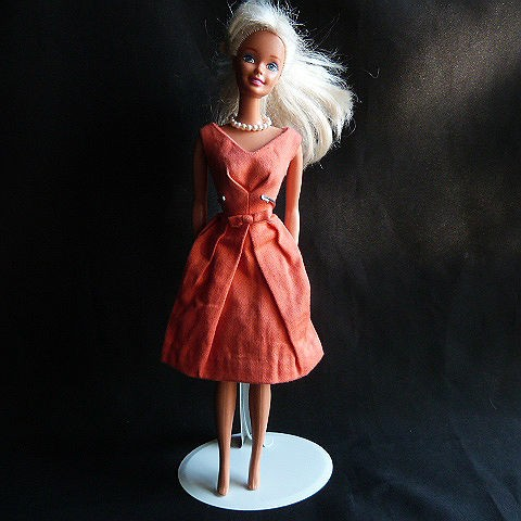 Vintage Barbie Bell Dress Orange with Graduated Pearl Necklace