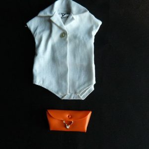 Vintage Barbie White Bodysuit Blouse and Orange Clutch Bag