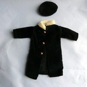 1960's Barbie Doll Homemade Black Velveteen Coat and Tam