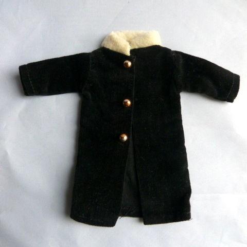 1960's Barbie Doll Homemade Black Velveteen Coat and Tam