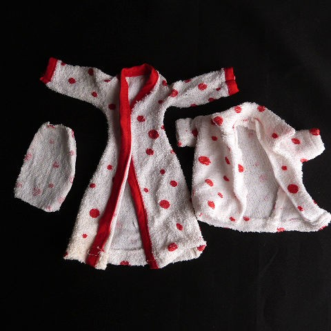 1960's Barbie Doll Homemade Terry Cloth Robe Set