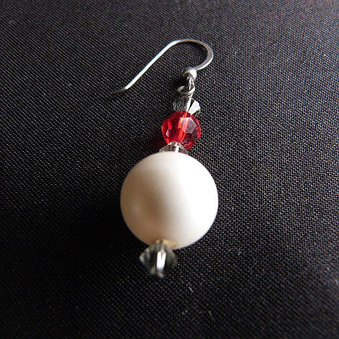 Faux Pearl and Red Crystal Bead French Hook Earrings