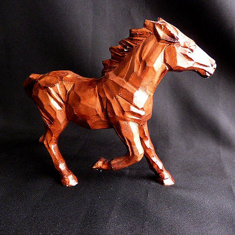 Brown Ceramic Wood Look Horse