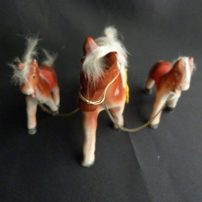 Vintage Porcelain Set of 3 Miniature Horse Figurines