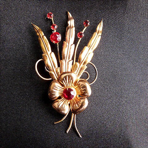 I. Michelson Brooch of Red Stone Flowers