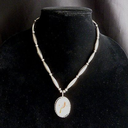 Vintage Zuni Cardinal Inlay on Mother of Pearl Necklace