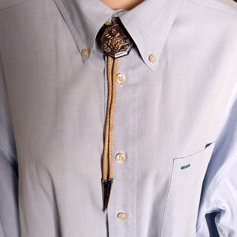 Vintage White Bolo Tie with Bucking Horse Slide