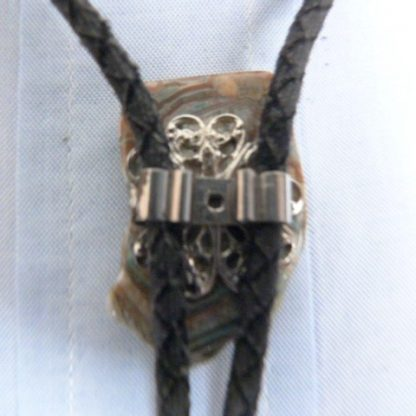 Vintage Agate Slice Slide Black Bolo Tie