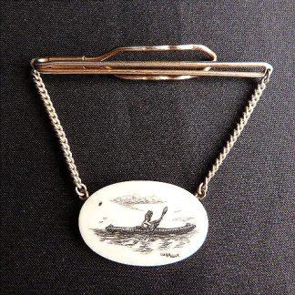 Vintage Scrimshaw Walluk Tie Bar Chain