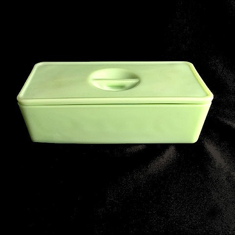 Lidded Jeannette Jadite Refrigerator Box