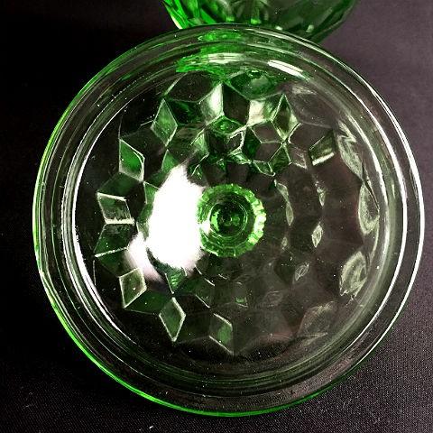 Vintage Jeannette Lidded Green Glass Footed Candy Jar