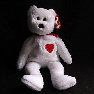 White Valentino Bear Ty Beanie Baby